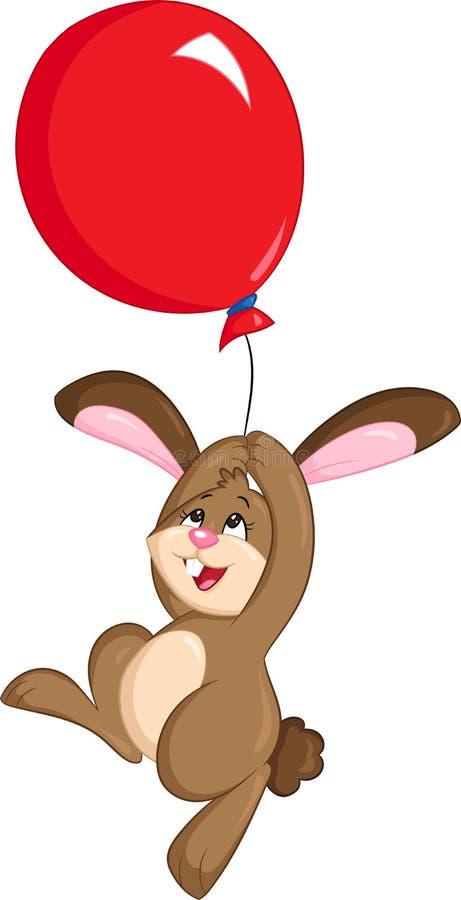 Ilustração de cor de um bonito pouco coelho, guardando um balão vermelho grande, flutuando no ar, para o livro de crianças ou o c ilustração do vetor