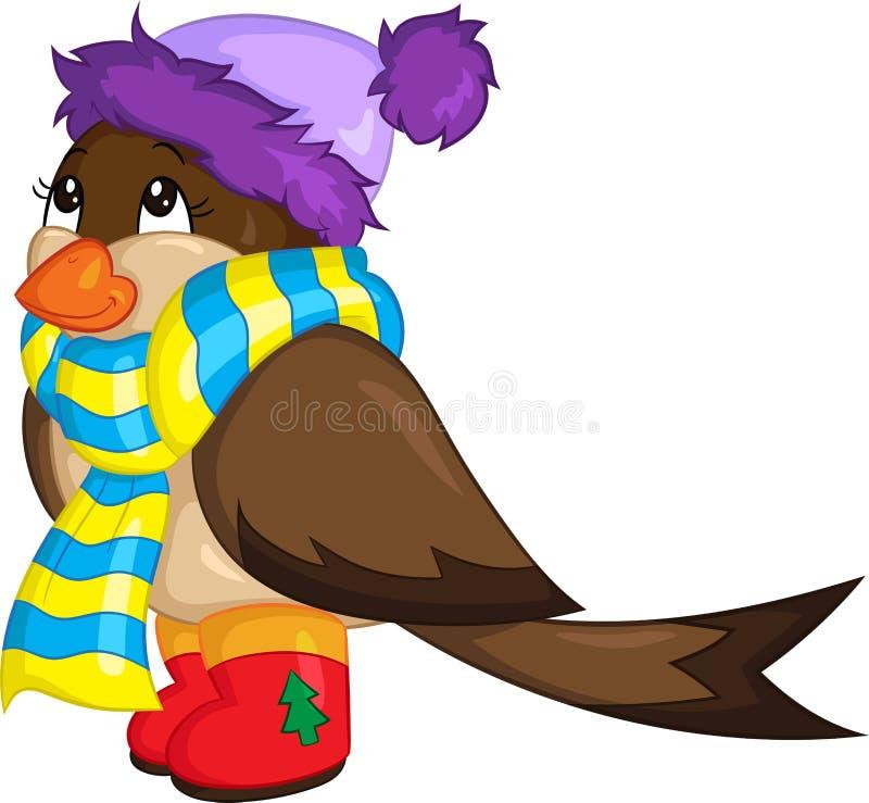 Ilustração de cor de um pardal pequeno bonito, vestida para o inverno, com botas, lenço e chapéu, para o livro de crianças ou o c ilustração do vetor