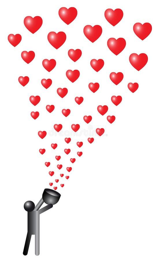 Ilustração de corações de jogo de um homem pequeno no ar ilustração do vetor