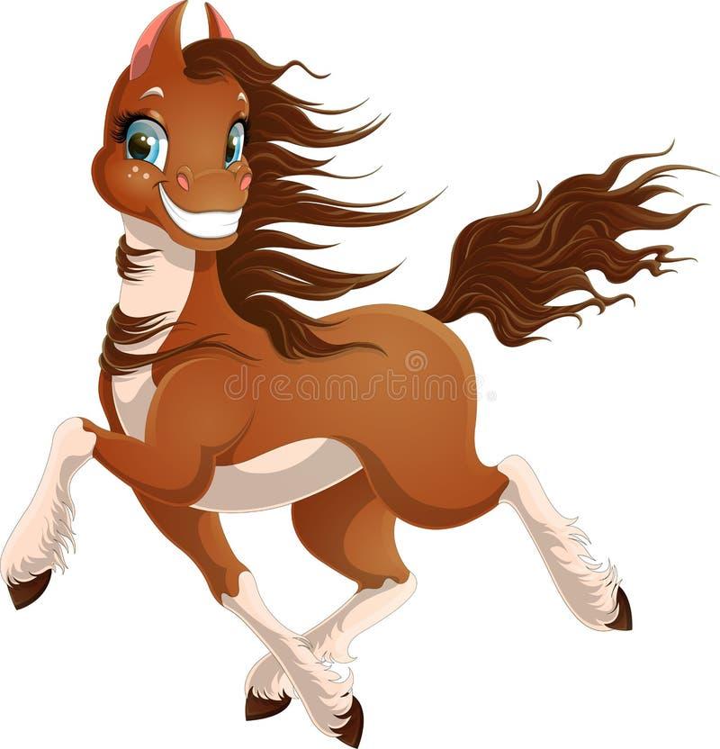 Ilustração de correr o cavalo freckled com as peúgas brancas isoladas no fundo branco ilustração stock