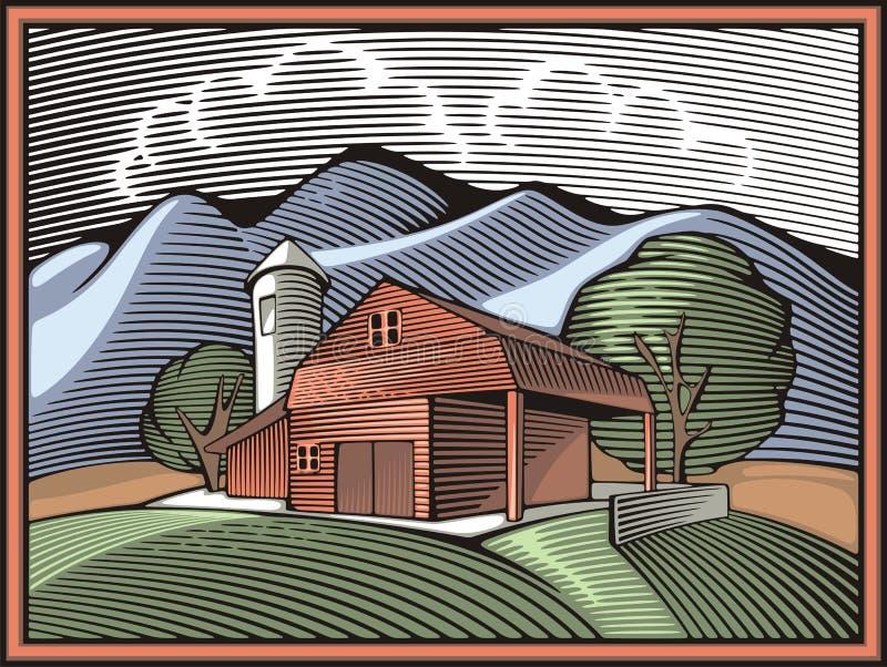 Ilustração de Countrylife e de cultivo no estilo do bloco xilográfico ilustração royalty free