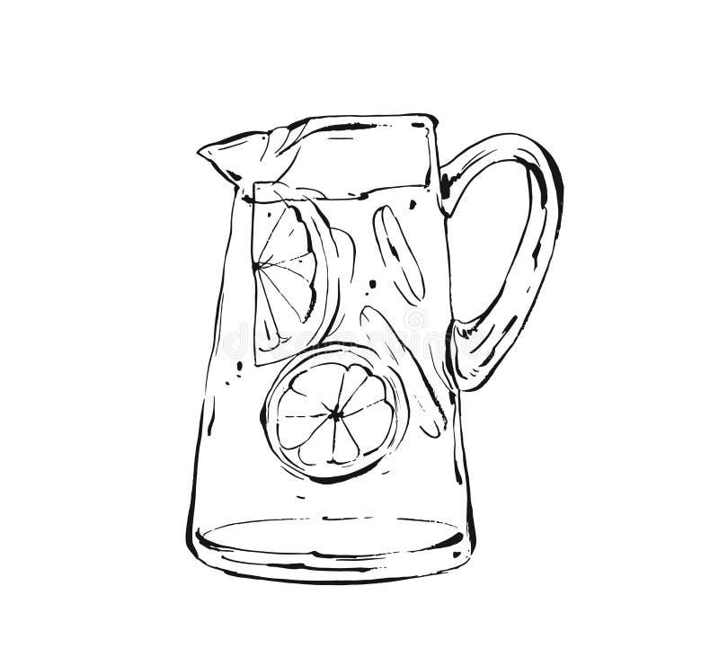 Ilustração de cozimento artística tirada mão do esboço da tinta do sumário do vetor da bebida da agitação da limonada do fruto tr ilustração do vetor