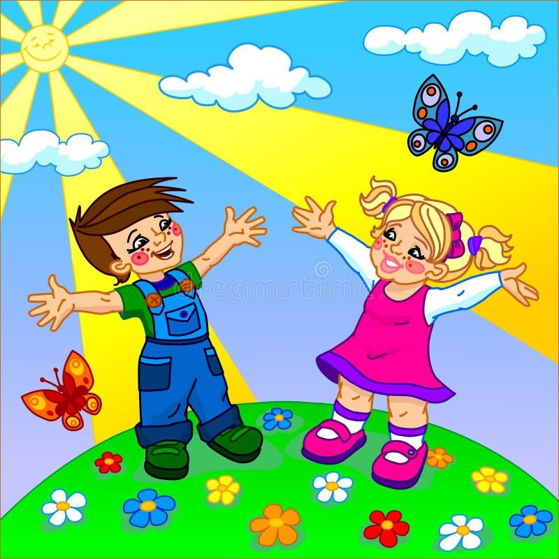 A ilustração de crianças felizes dos desenhos animados imagem de stock royalty free
