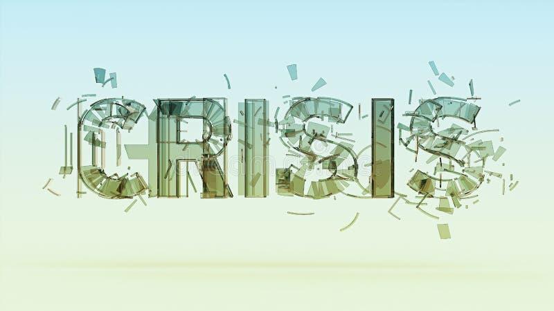 a ilustração de crise rachada da palavra no bacground da cor, financeira, mundo, conceito do desastre da guerra rende ilustração do vetor