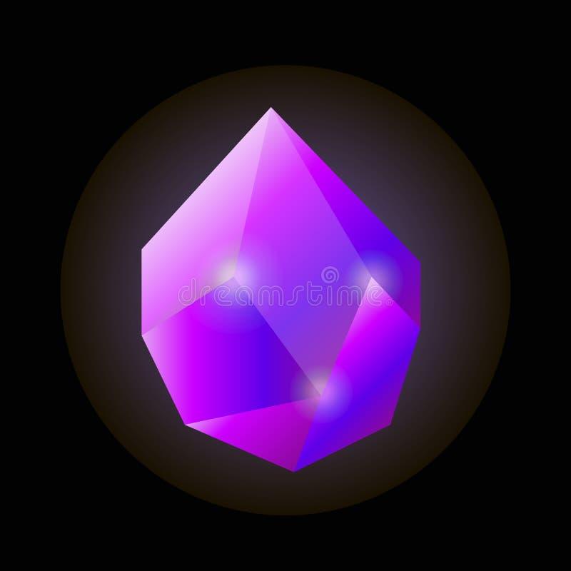 Ilustração de cristal natural violeta sem cortes brilhante brilhante ilustração royalty free