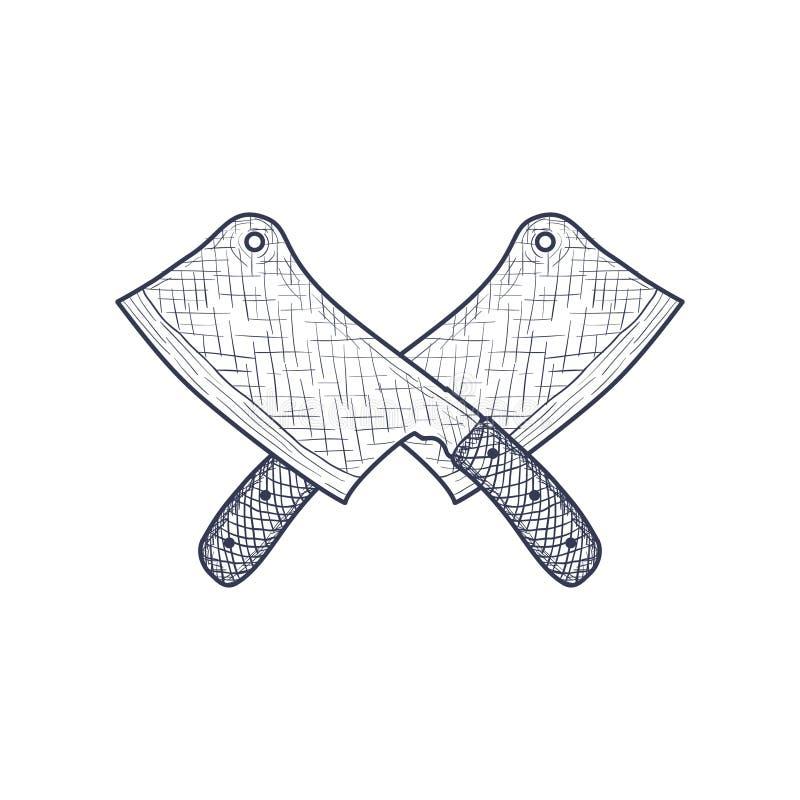 Ilustração de Crossed Knife Engraved do carniceiro do talhador do vintage Vetor ilustração royalty free