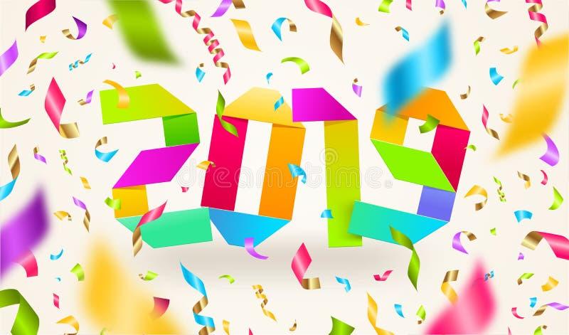 Ilustração de cumprimento do ano novo feliz 2019 Números do ano do origâmi feitos do papel colorido e dos confetes coloridos em u ilustração royalty free