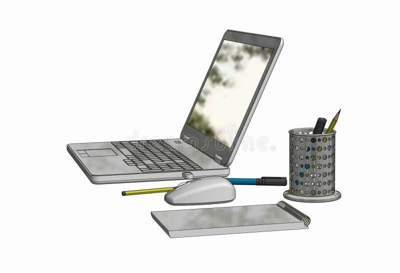 ilustração de 3D CAD do laptop com rato, bloco de notas e lápis e penas corless foto de stock