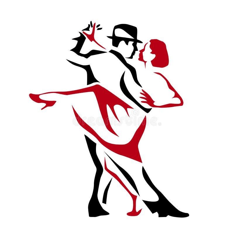 Ilustração de dança do vetor do homem e da mulher dos pares do tango, logotipo, ícone ilustração stock