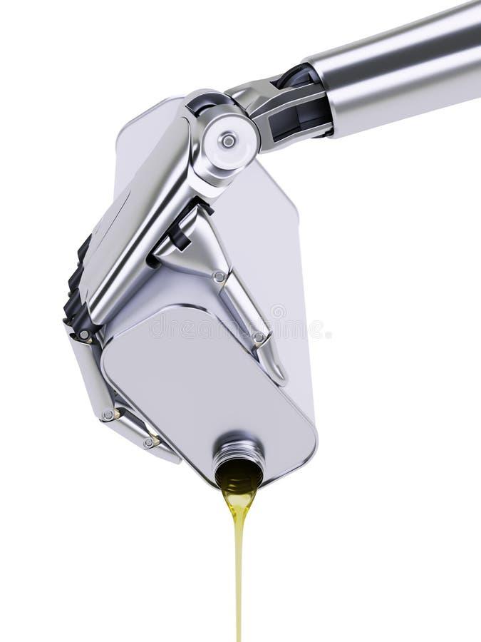 Ilustração de derramamento do óleo de motor 3d do robô ilustração do vetor
