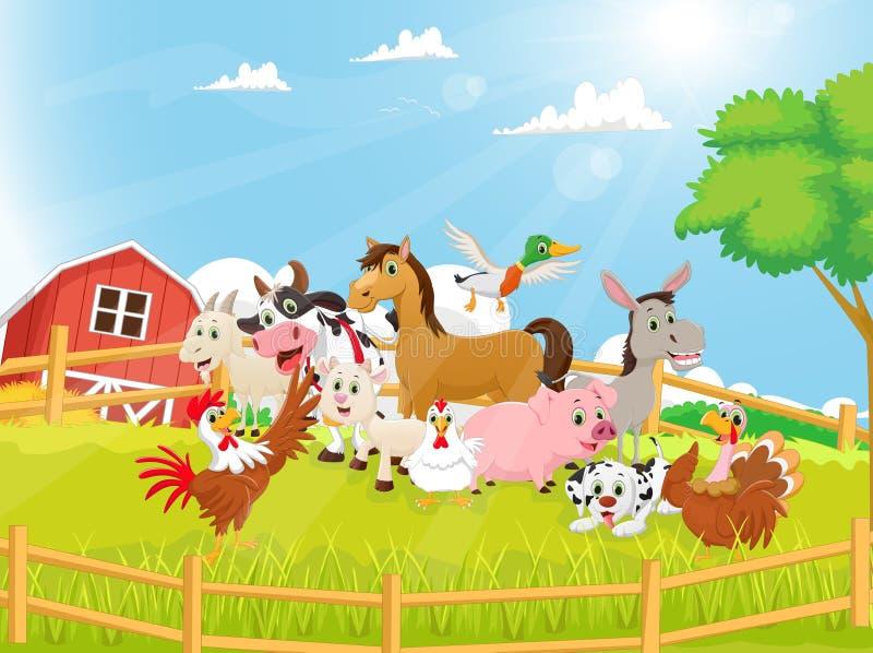 Ilustração de desenhos animados dos animais de exploração agrícola ilustração do vetor