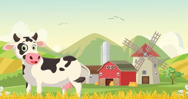 Ilustração de desenhos animados felizes da vaca na exploração agrícola ilustração stock