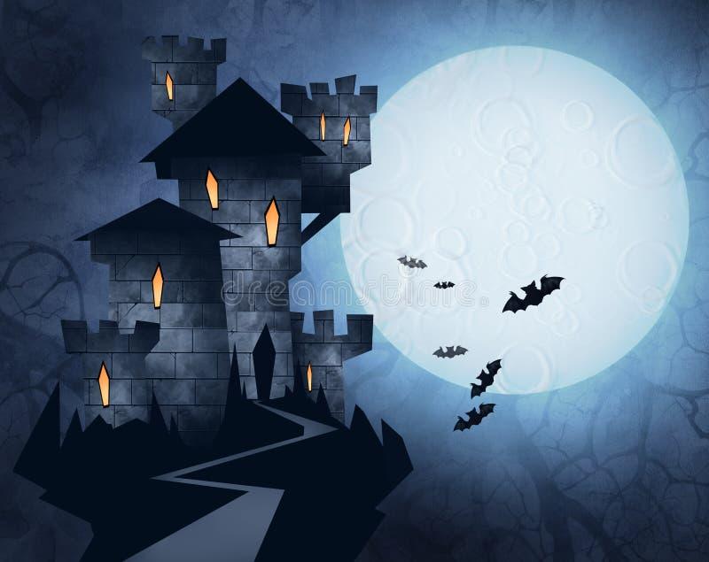 Ilustração de Dia das Bruxas de um castelo ilustração royalty free