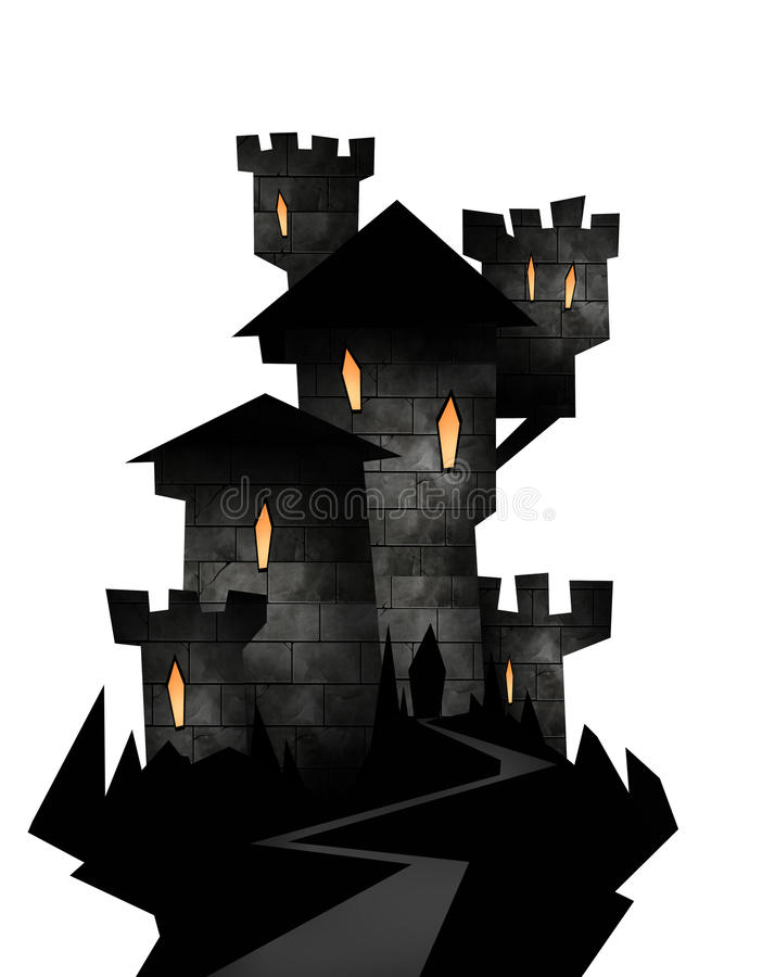 Ilustração de Dia das Bruxas de um castelo ilustração stock