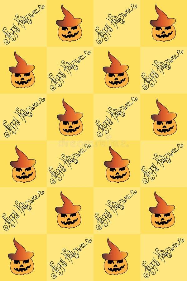 Ilustração de Dia das Bruxas Tiragem com abóboras Teste padrão sem emenda Boas festas ilustração do vetor