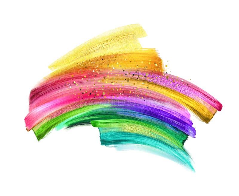Ilustração de Digitas, curso de néon da escova isolado no fundo branco, mancha da pintura, pintura colorida, clipart artístic imagens de stock royalty free