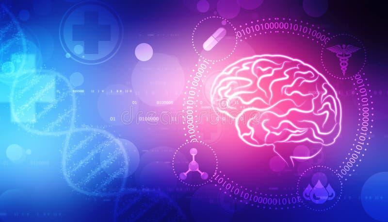 Ilustração de Digitas da estrutura do cérebro humano, fundo criativo do conceito do cérebro, fundo da inovação ilustração do vetor