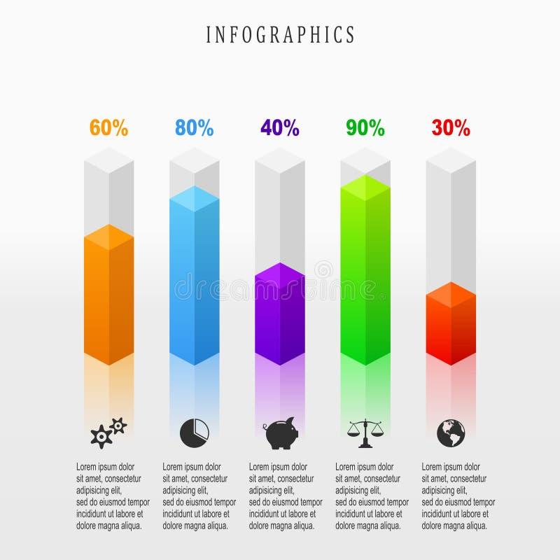 Ilustração de Digitas infographic 3d abstrato ilustração royalty free