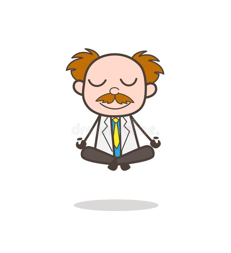 Ilustração de Doing Meditation Vetora do cientista dos desenhos animados ilustração do vetor