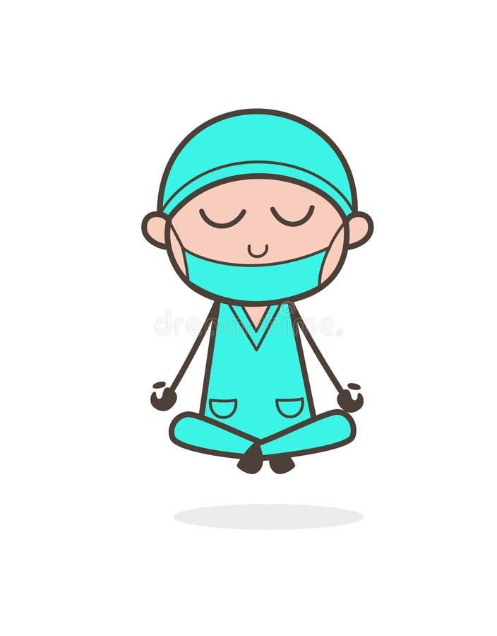 Ilustração de Doing Meditation Vetora do cirurgião dos desenhos animados ilustração royalty free