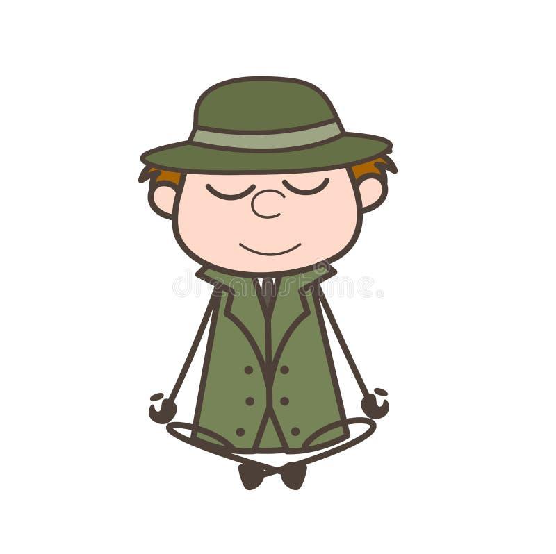 Ilustração de Doing Meditation Vetora do detetive dos desenhos animados ilustração do vetor
