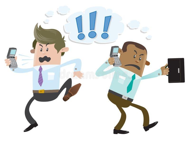 Os amigos do negócio têm um debate acalorado no telep ilustração do vetor