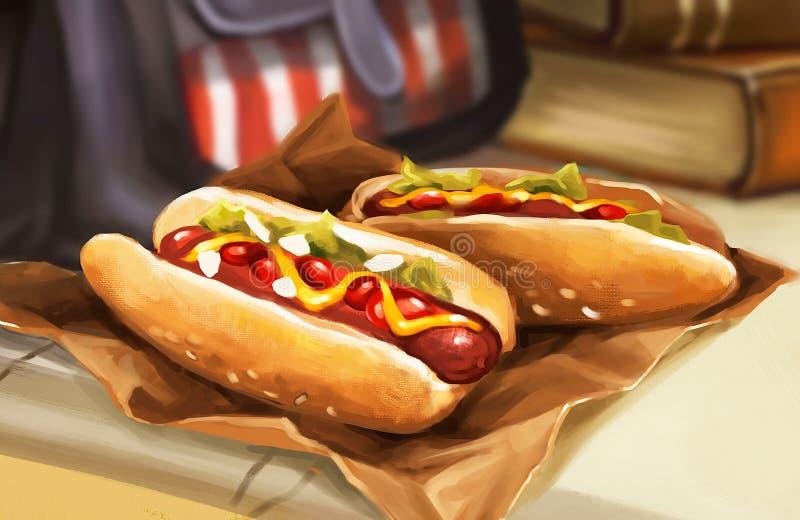 Ilustração de dois cachorros quentes na tabela ilustração do vetor