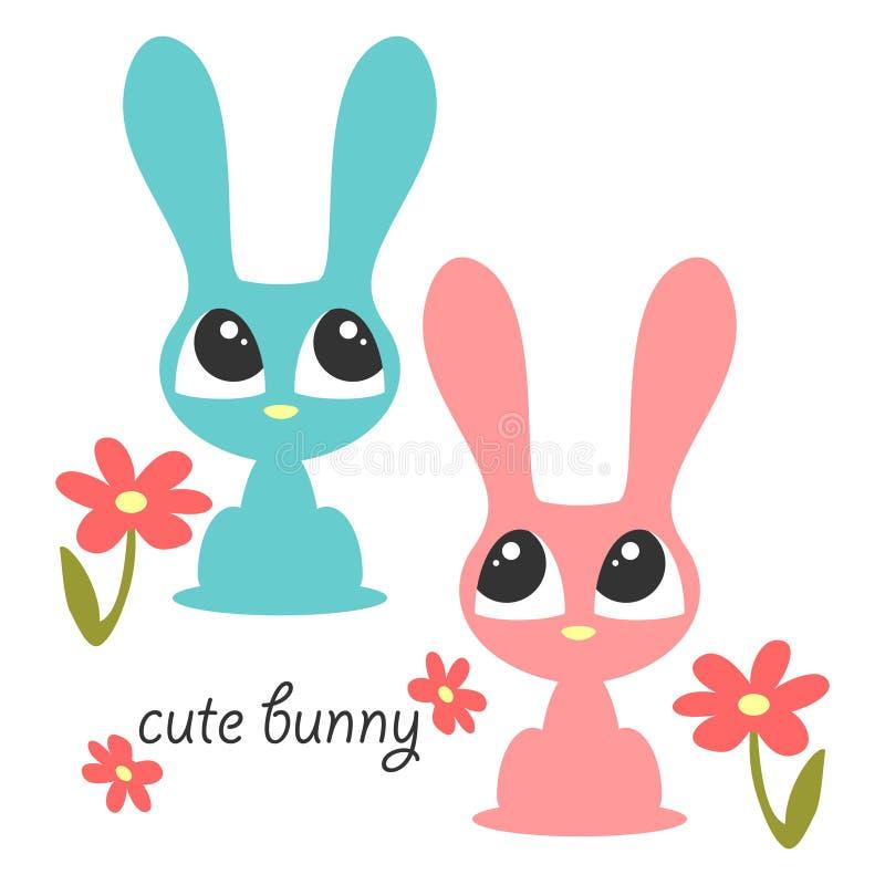 Dois coelhos bonitos ilustração royalty free