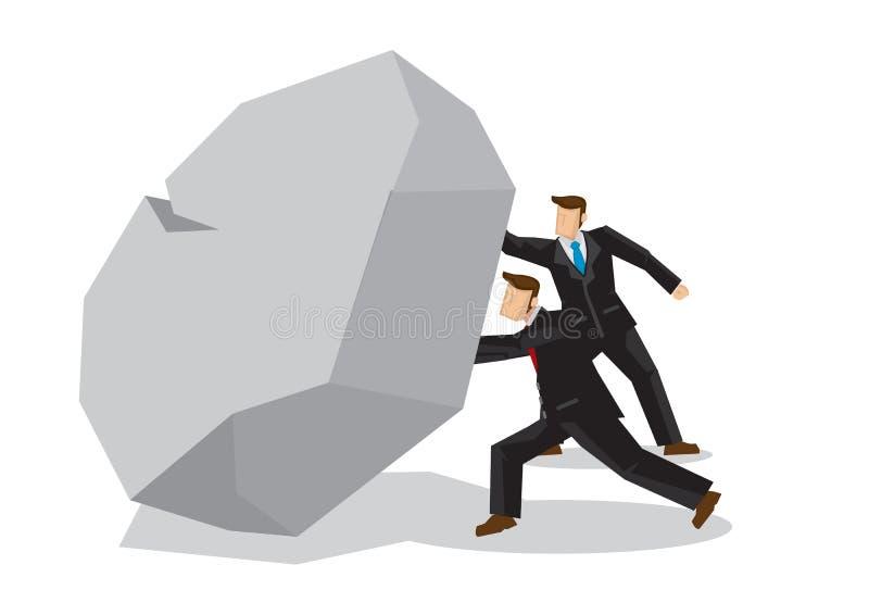Ilustração de dois homens de negócios que levantam um rocktogether gigante Mim ilustração stock