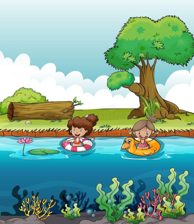 Duas meninas no rio ilustração royalty free