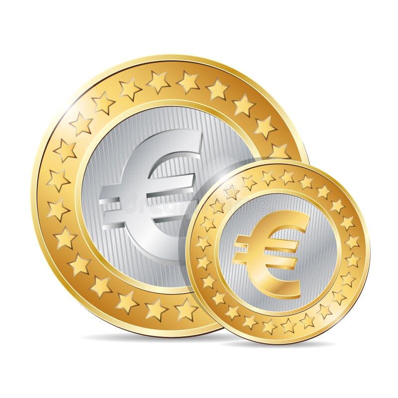 ilustração de duas moedas com euro- sinal ilustração do vetor