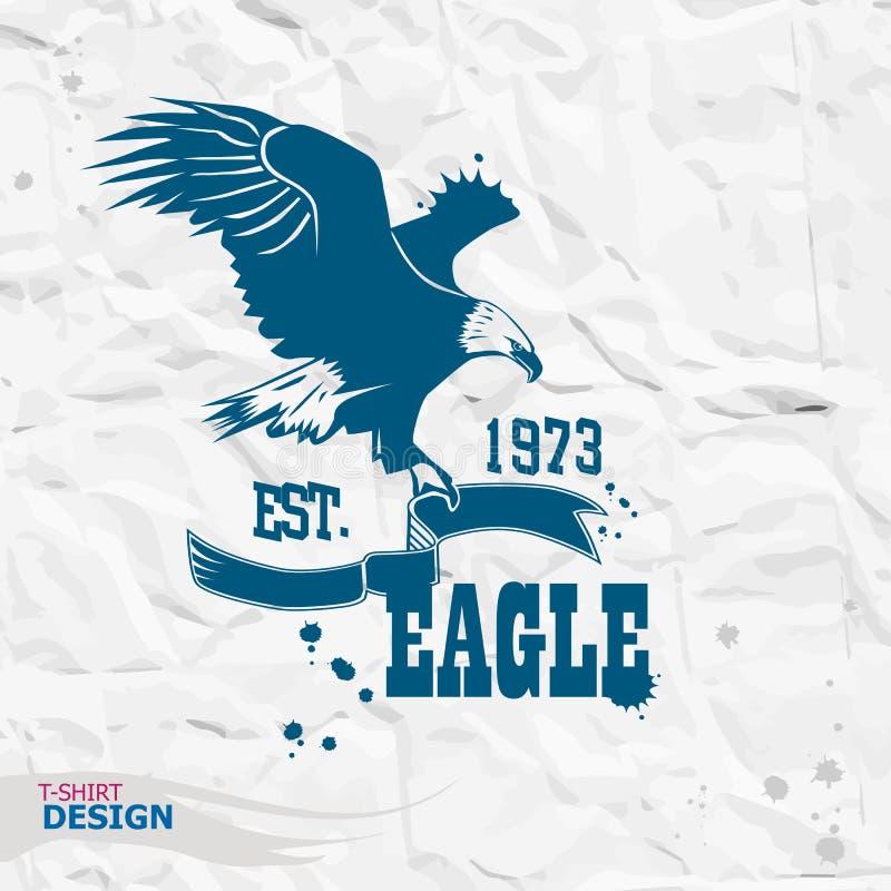 Ilustração de Eagle, gráficos do t-shirt fotografia de stock
