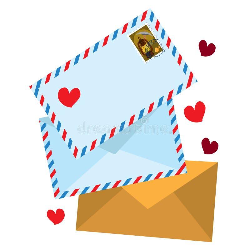 Ilustração de envelopes e letras no estilo vintage ilustração royalty free