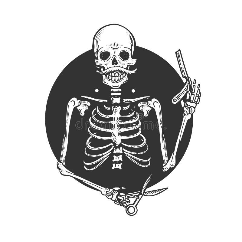 Ilustração de esqueleto do vetor da gravura do barbeiro ilustração do vetor