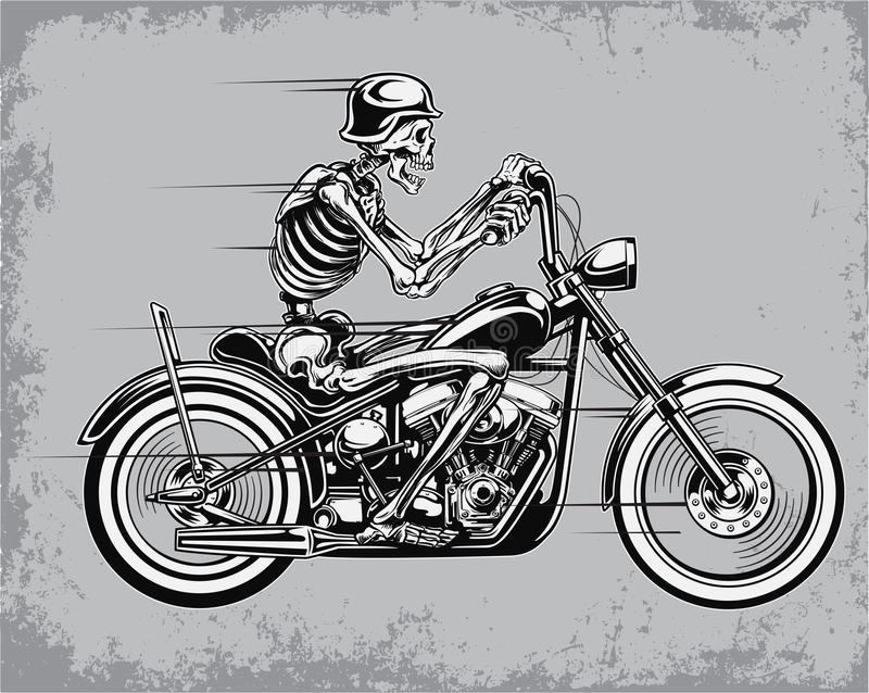Ilustração de esqueleto do vetor da motocicleta da equitação ilustração royalty free