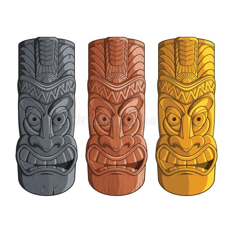 Ilustração de estátuas do tiki na pedra, madeira e ouro - Vector EPS8 ilustração do vetor