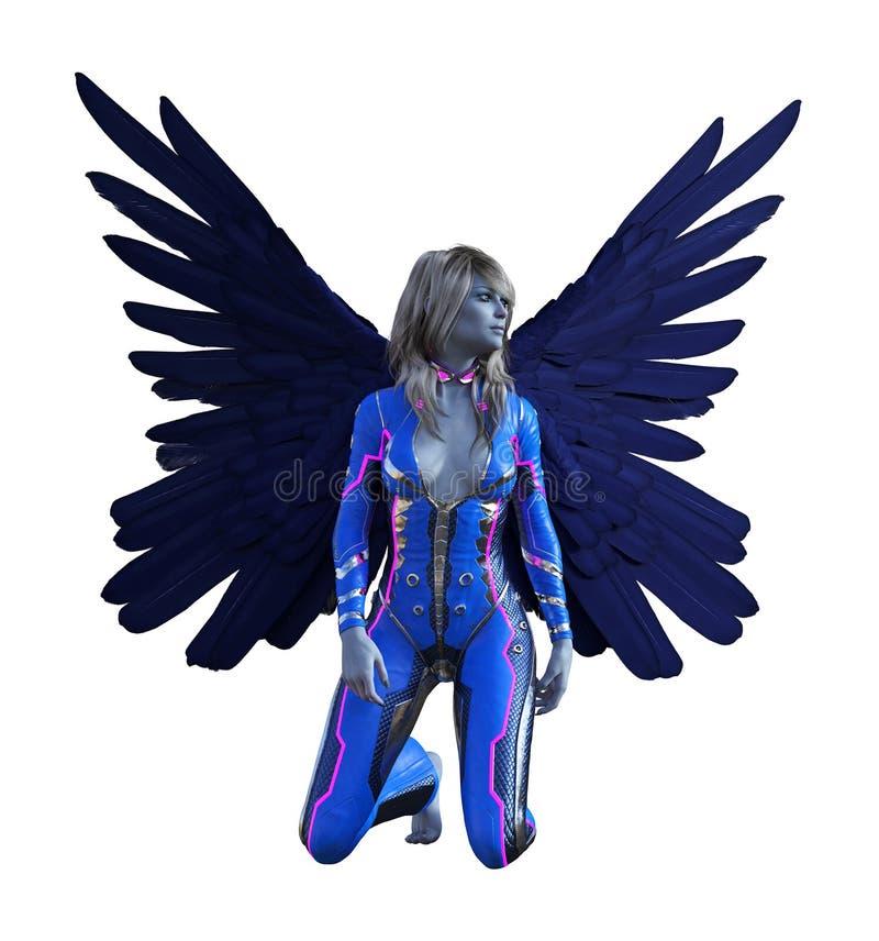 A ilustração de extraterrestre dado forma ser humano voado com asas espalhou largamente o ajoelhamento em um fundo branco ilustração do vetor