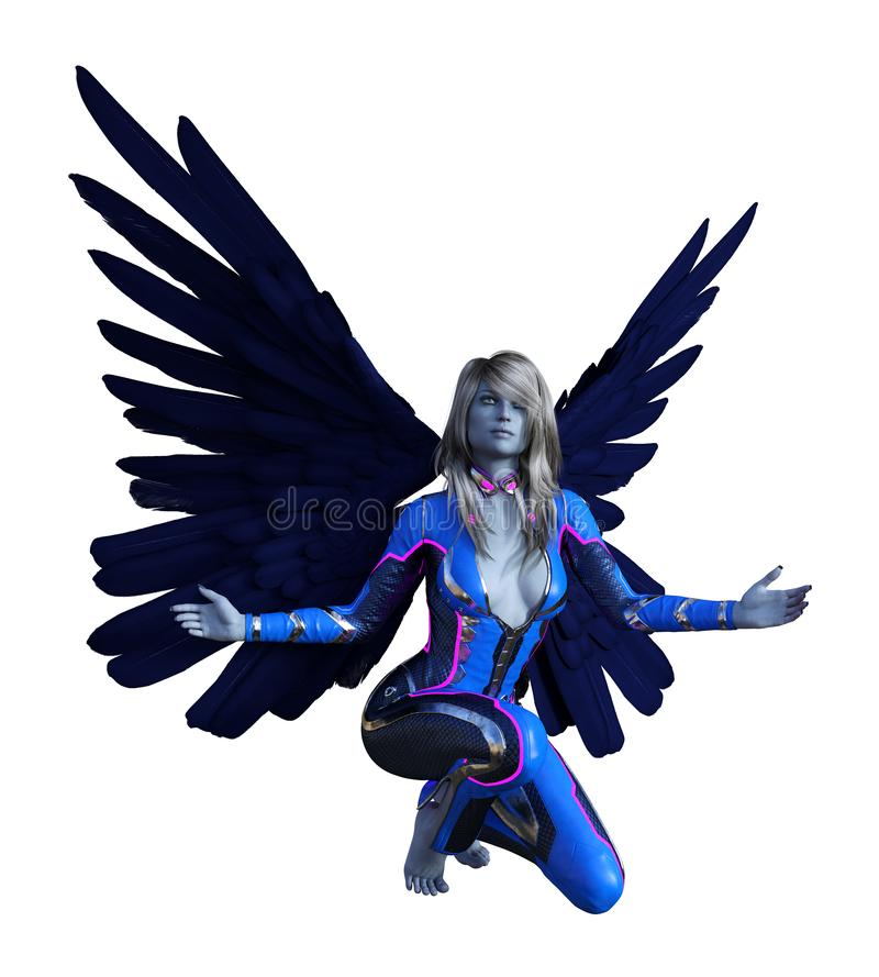 A ilustração de extraterrestre dado forma ser humano voado com asas espalhou largamente o ajoelhamento com seus braços espalhados ilustração stock