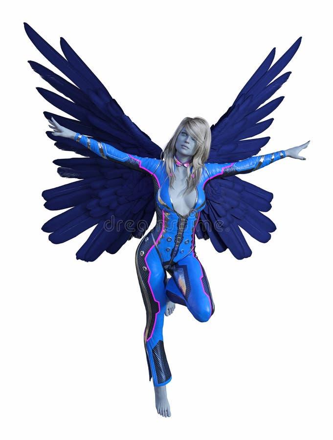 A ilustração de extraterrestre dado forma ser humano voado com os braços estendidos e as asas espalhou largamente em um fundo bra ilustração royalty free
