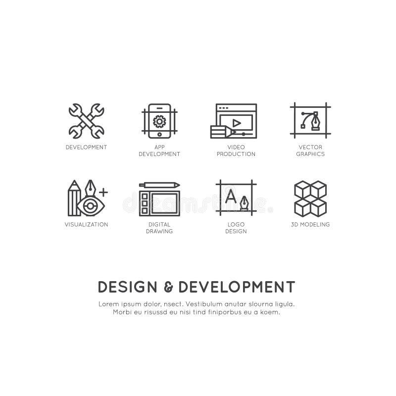 Ilustração de ferramentas do projeto e de desenvolvimento, App, Web e tornar-se do computador ilustração royalty free