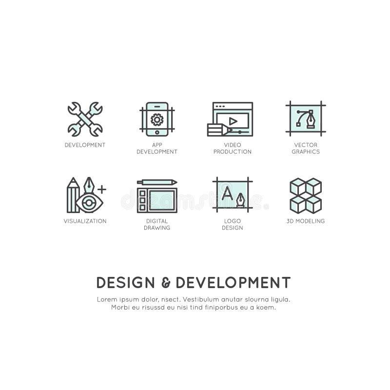 Ilustração de ferramentas do projeto e de desenvolvimento, App, Web e tornar-se do computador ilustração stock