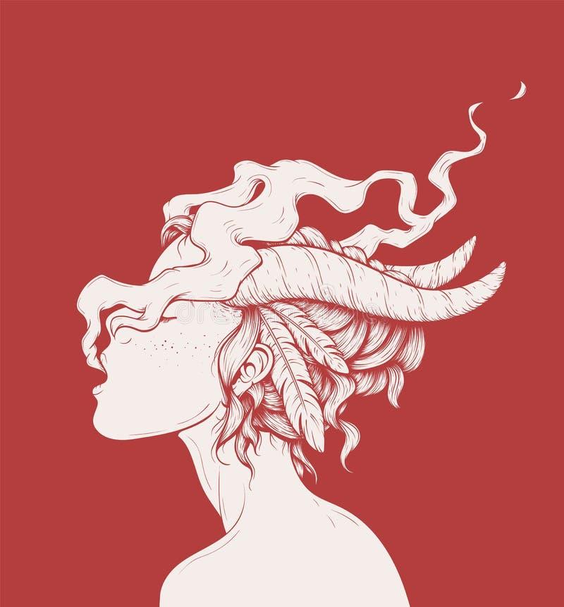 Ilustração de fumo da menina ilustração royalty free