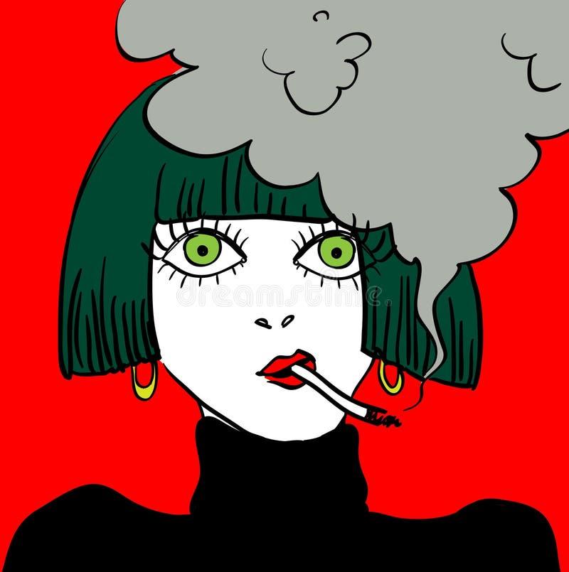 Ilustração de fumo do vetor da caricatura da menina ilustração royalty free