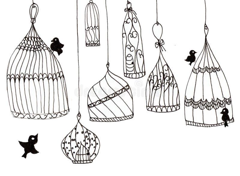 Ilustração de gaiolas simples com pássaros em um fundo branco Linhas de contorno pretas em um fundo branco ilustração do vetor