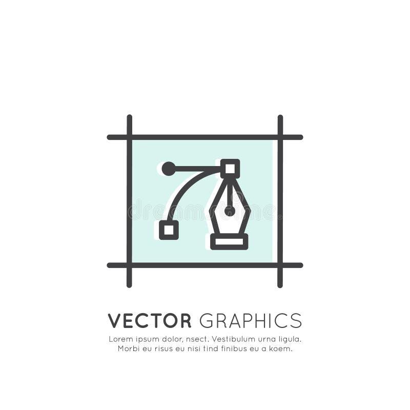 Ilustração de gráficos de vetor e de processo da criação do projeto ilustração do vetor