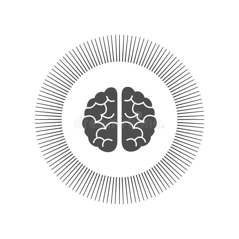 Ilustração de gravação monocromática do cérebro na vista superior isolada no fundo branco ilustração do vetor