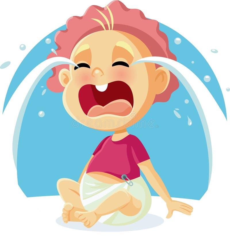 Ilustração de grito dos desenhos animados do vetor do bebê engraçado ilustração do vetor