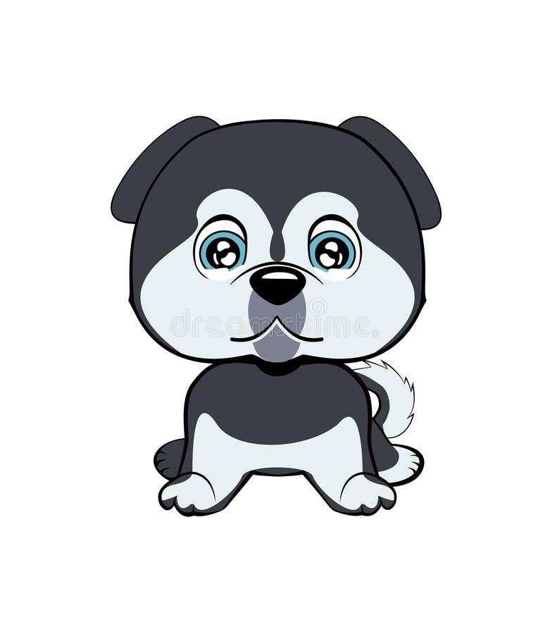 Ilustração de grito triste do vetor dos desenhos animados do cão ilustração stock