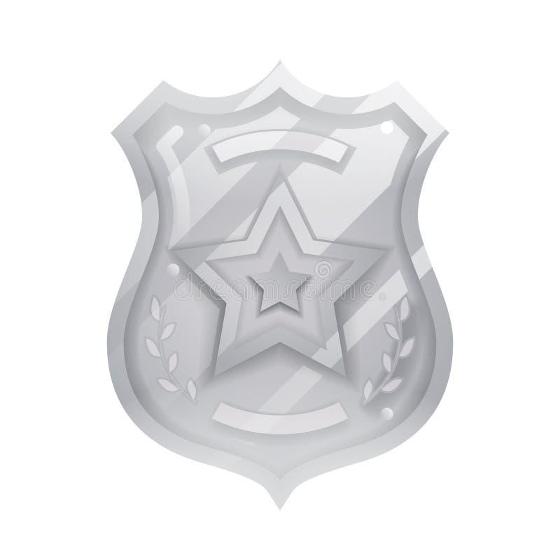 Ilustração de identificação do agente da polícia de aço ícone proteção insígnia lei ordem decoração isolada desenho vetor ilustra ilustração royalty free