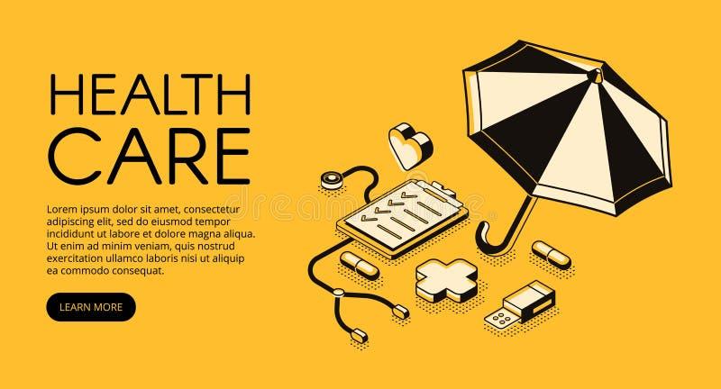 Ilustração de intervalo mínimo médica do vetor dos cuidados médicos ilustração stock
